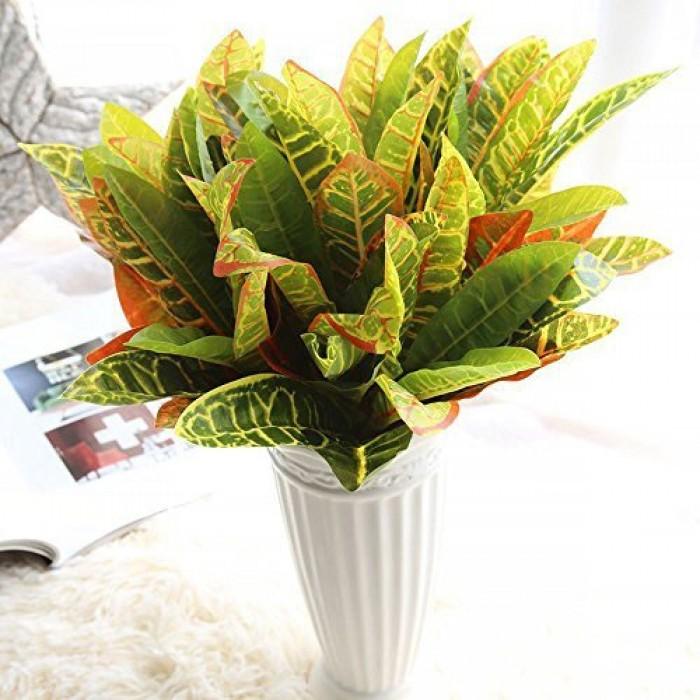 Buy Beautiful Artificial Plastic Croton Plant Mini Bush (15 Cm X 15 Cm X 35 Cm, Set Of 2) Online