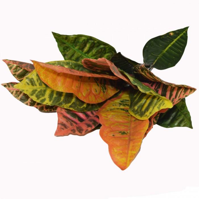 Buy Beautiful Artificial Plastic Green Croton Plant Without Vase (15 Cm X 15 Cm X 45 Cm, 20 Leaves,