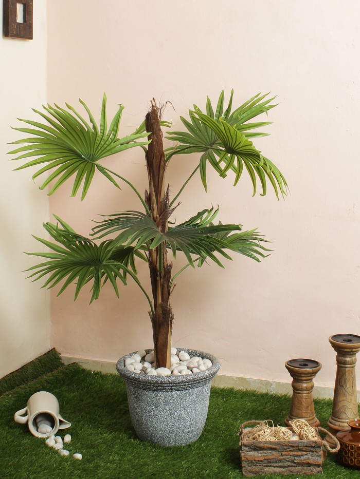 Buy Artificial Fan Palm Floor Plant Without Pot (20 Cm X 20 Cm X 90 Cm, Green, 8 Leaves) Online