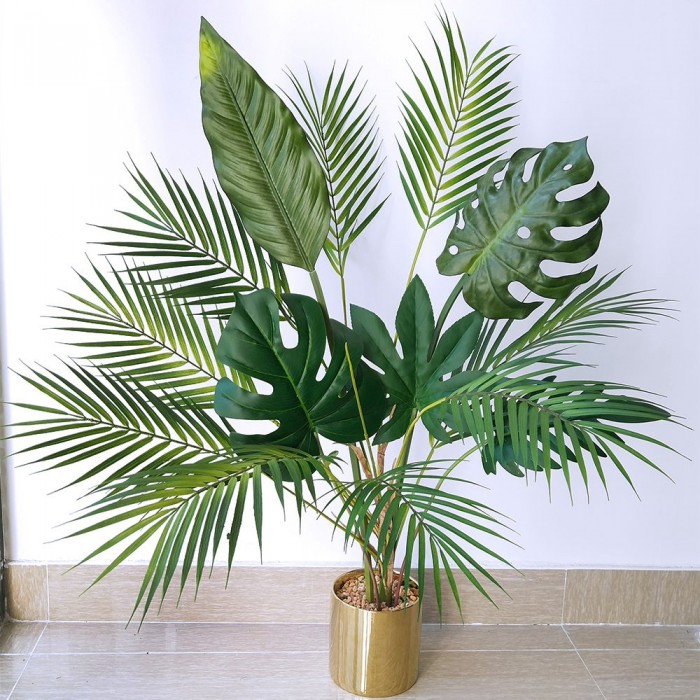 Buy Decorative Artificial Arica Palm Plant Without Vase (75 Cm Tall, 9 Leaves, Green) Online