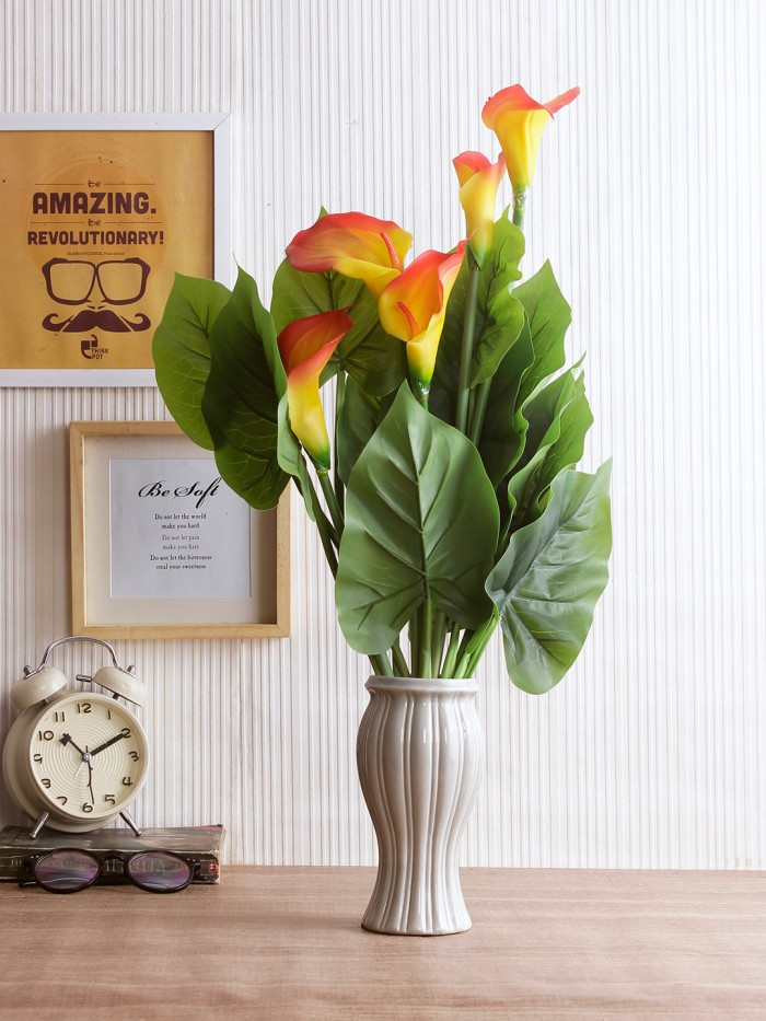 Buy Artificial Real Touch Calla Lily Plant Without Pot (60 Cm Tall, Orange, 5 Flowers) Online