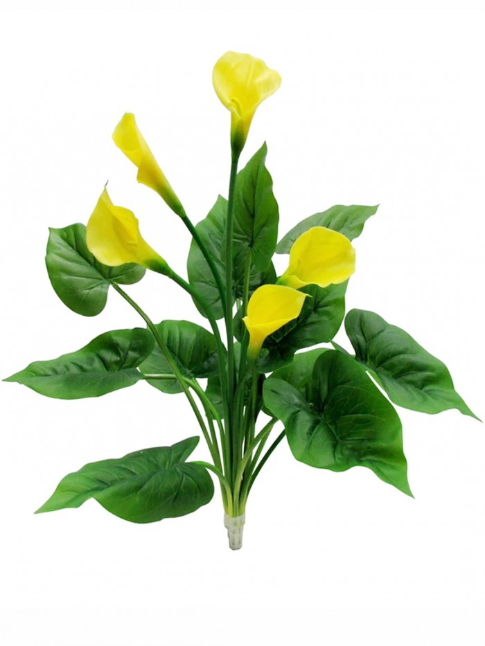 Buy Artificial Real Touch Calla Lily Plant Without Pot (60 Cm Tall, Yellow, 5 Flowers) Online