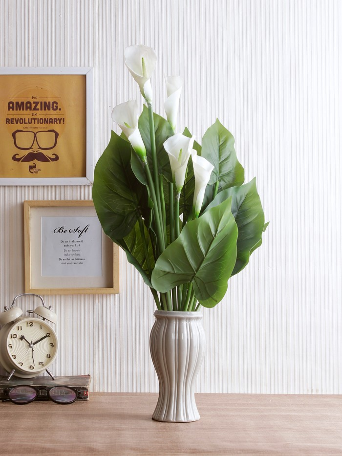 Buy Artificial Real Touch Calla Lily Plant Without Pot (60 Cm Tall, White, 5 Flowers) Online