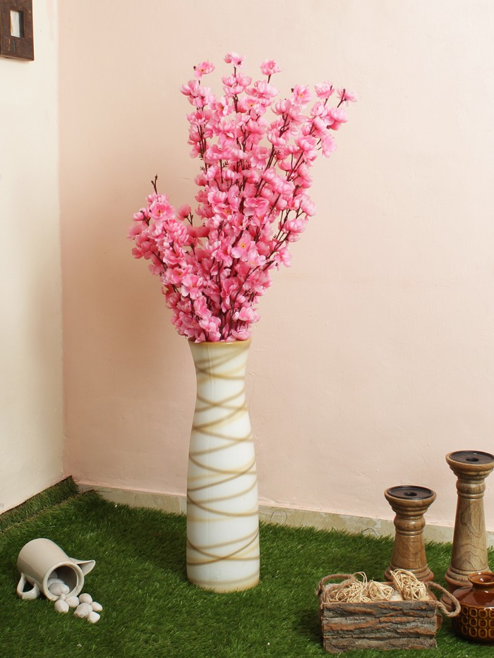 Buy High Range Beautiful Artificial Cherry Blossom Flower Plants Without Vase For D�cor (100 Cm Ta