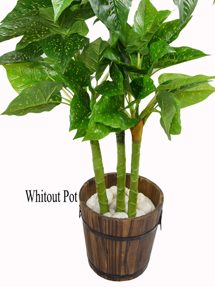 Buy Beautiful Artificial Miniature PVC Silk Floor Plant With Big Leaves And Without Pot (110 Cm Tall
