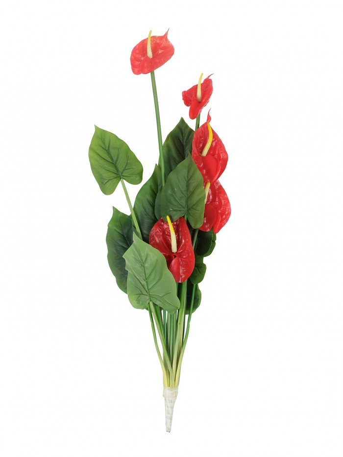 Buy Polyurethane And PVC Artificial Real-Touch Anthurium Plant (20 Cm X 20 Cm X 75 Cm, Red) Online