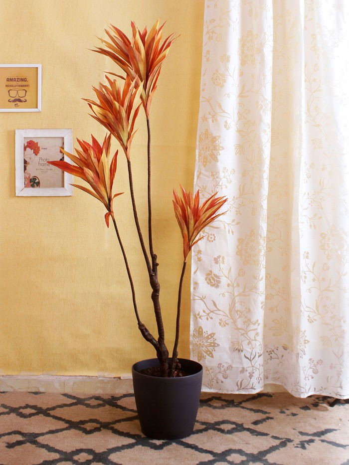 Buy Artificial Cordyline Floor Plant Without Pot (162 Cm Tall, 4 Branches, Orange) Online
