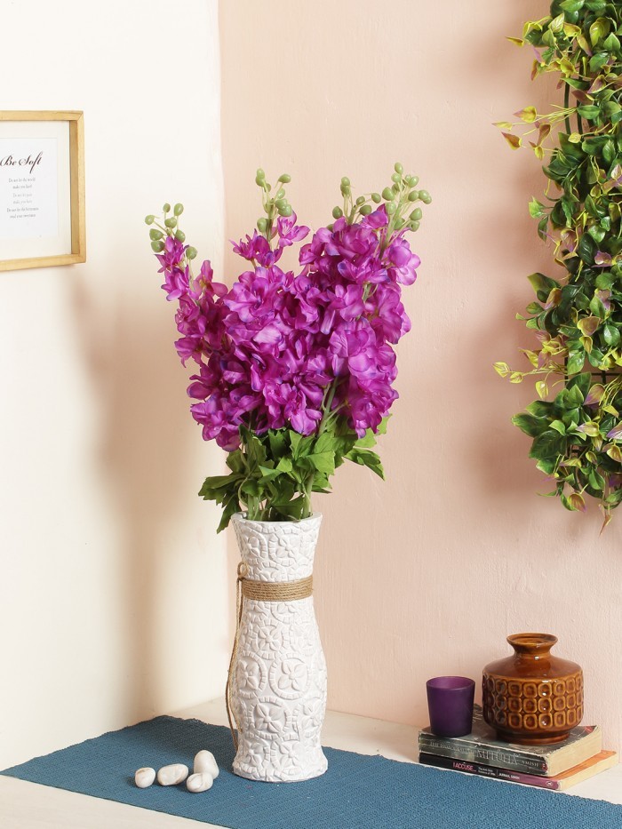 Buy Artificial Synthetic Fyanco Flower Sticks (70 Cm Tall, Purple, Set Of 3) Online