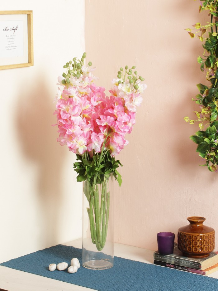 Buy Artificial Synthetic Fyanco Flower Sticks (70 Cm Tall, Pink, Set Of 3) Online
