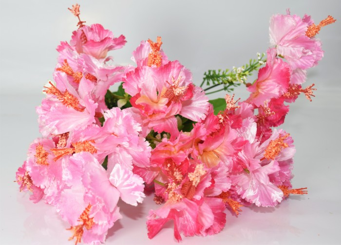 Buy Polyester Fabric And Plastic Artificial Habicicus Flower Bunches With 20 Flower Heads 48 Cm Tall