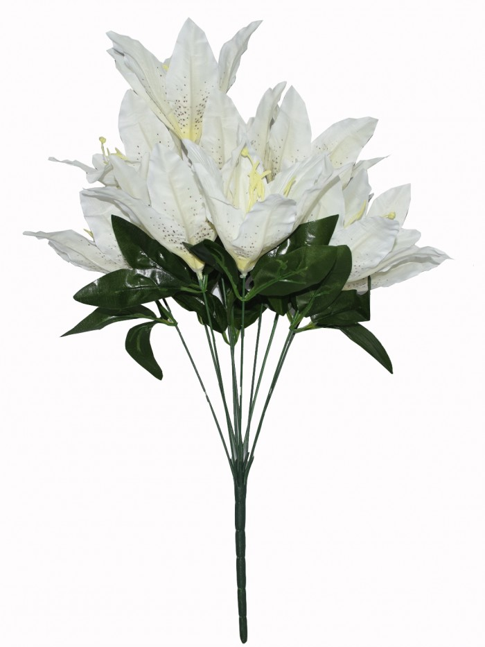 Buy Artificial Decorative Lily Flower Bunches (10 Head Flower, 20 Cm X 20 Cm X 55 Cm, White) Online