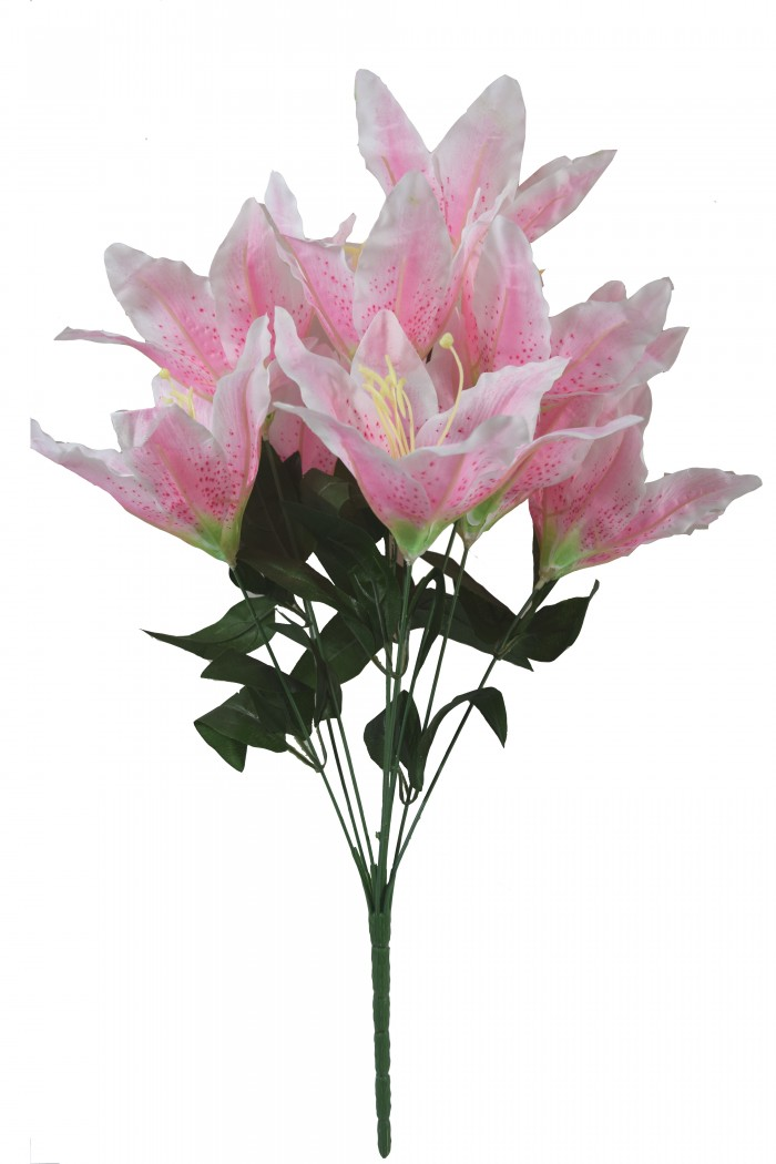 Buy Artificial Decorative Lily Flower Bunches (10 Head Flower, 20 Cm X 20 Cm X 55 Cm, Light Pink) On