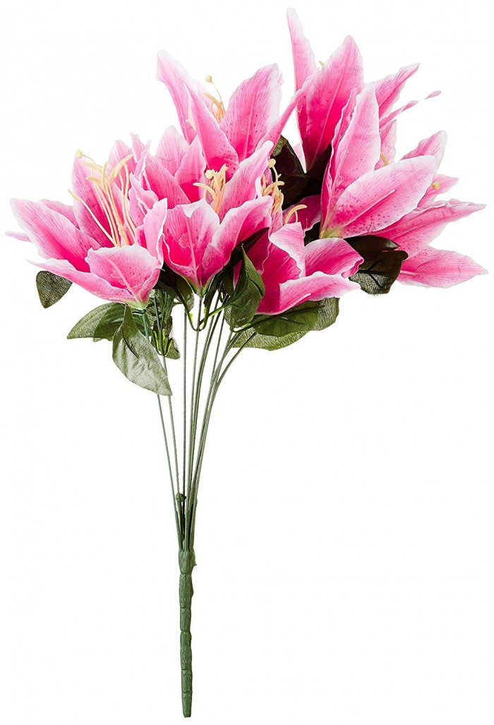 Buy Artificial Decorative Lily Flower Bunches (10 Head Flower, 20 Cm X 20 Cm X 55 Cm, Dark Pink) Onl