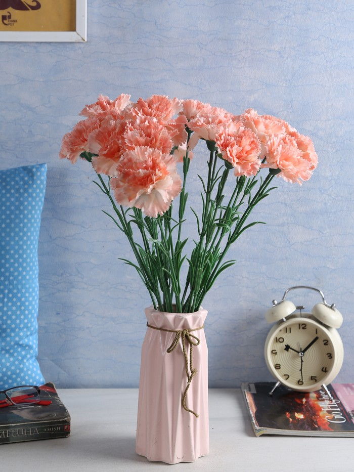 Buy Artificial Synthetic Single Carnation Flower Stick (45 Cm Tall, Set Of 15, Peach) Online
