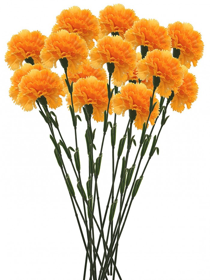 Buy Artificial Synthetic Single Carnation Flower Stick (45 Cm Tall, Set Of 15, Yellow) Online