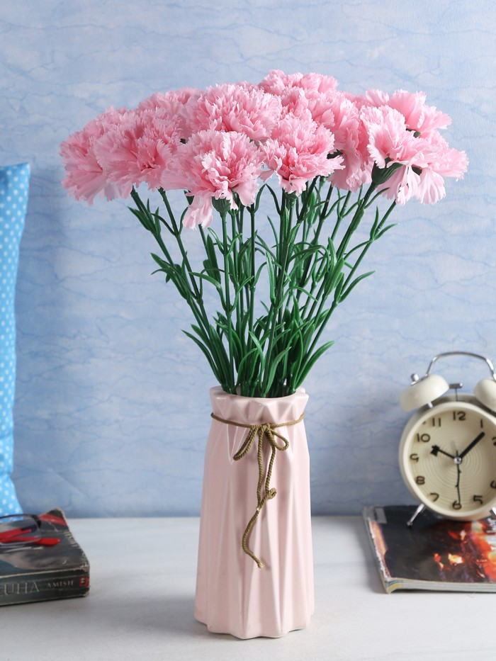 Buy Artificial Synthetic Single Carnation Flower Stick (45 Cm Tall, Set Of 15, Light/Pink) Online