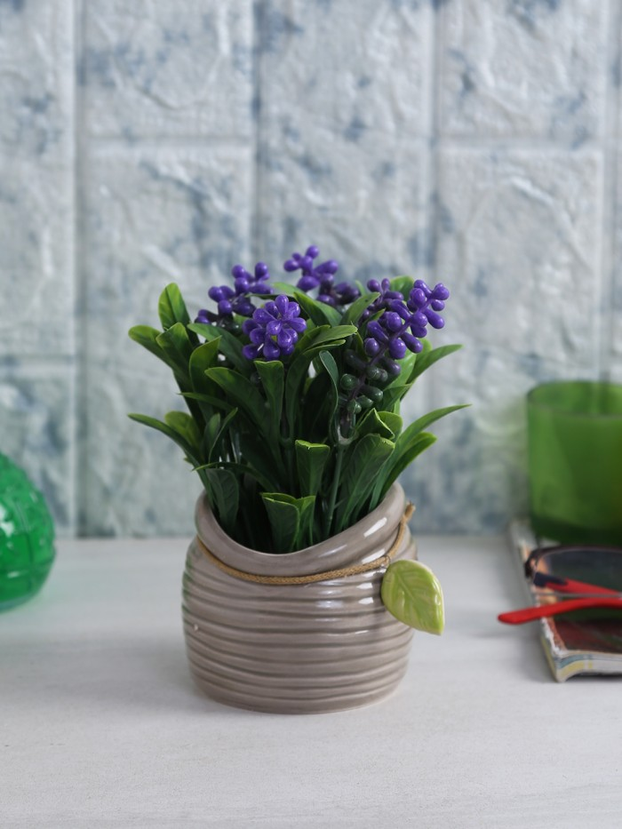 Buy Miniature Artificial Green Berry Plants In A Ceramic Vase (10 Cm X 10 Cm X 18 Cm, Pink) Online
