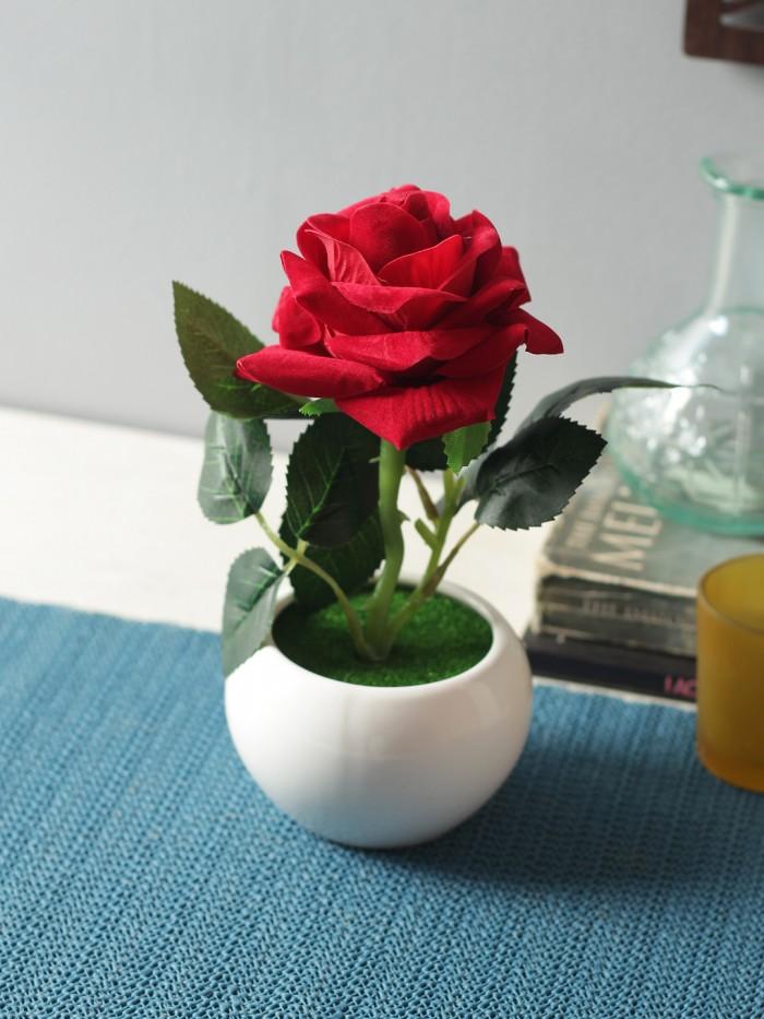 Buy Artificial Velvet Rose Flower In A Ceramic Vase (15 Cm X 12 Cm X 20 Cm, Red) Online