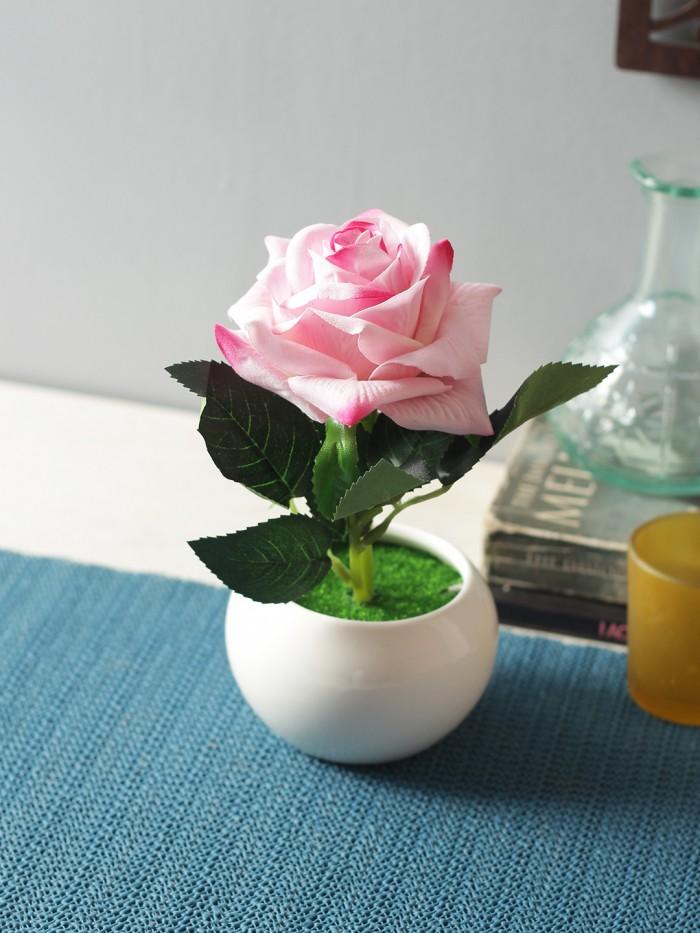 Buy Artificial Velvet Rose Flower In A Ceramic Vase (15 Cm X 12 Cm X 20 Cm, Pink) Online