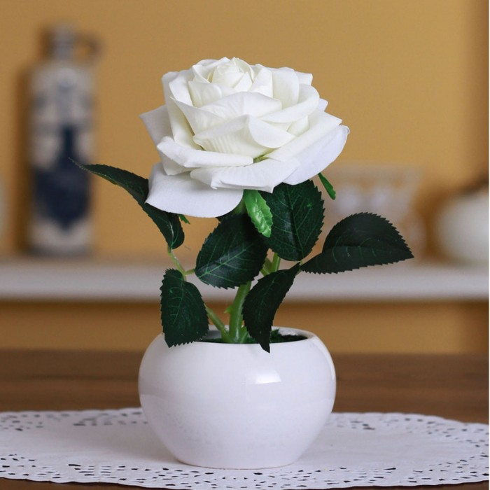 Buy Artificial Velvet Rose Flower In A Ceramic Vase (15 Cm X 12 Cm X 20 Cm, White) Online