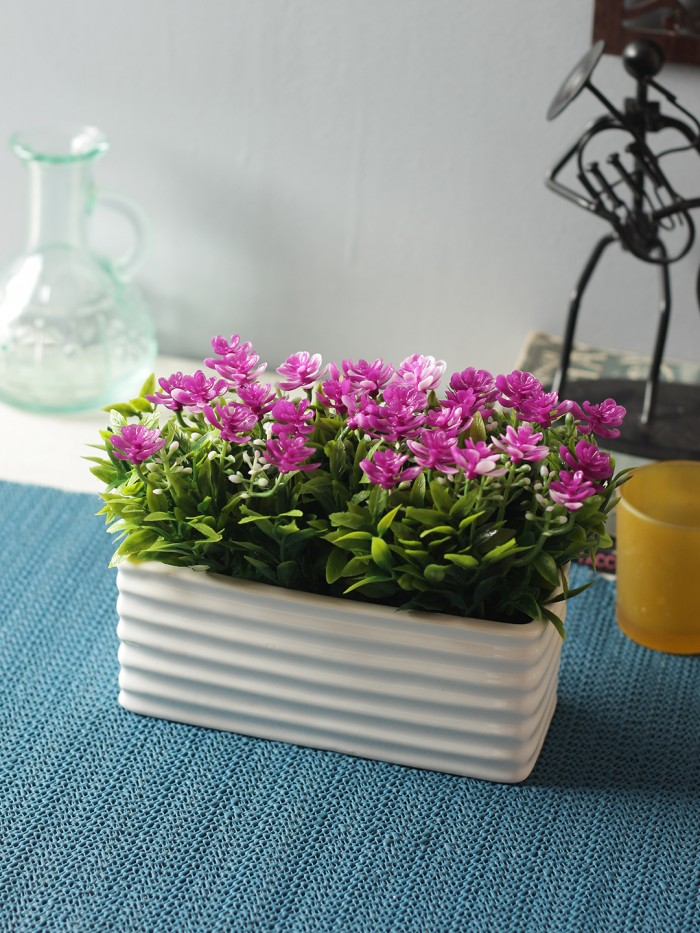 Buy Artificial PVC And Ceramic Rectangular Flower In A Ceramic Pot (20 Cm X 10 Cm X 14 Cm, Purple) O