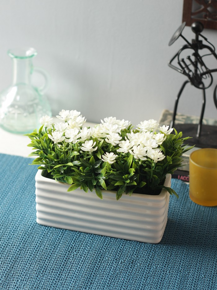 Buy Artificial PVC And Ceramic Rectangular Flower In A Ceramic Pot (20 Cm X 10 Cm X 14 Cm, White) On