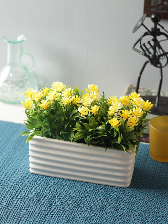 Buy Artificial PVC And Ceramic Rectangular Flower In A Ceramic Pot (20 Cm X 10 Cm X 14 Cm, Yellow) O