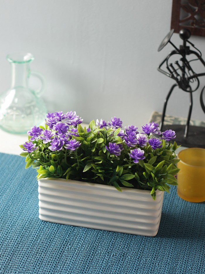 Buy Artificial PVC And Ceramic Rectangular Flower In A Ceramic Pot (20 Cm X 10 Cm X 14 Cm, Blue) Onl