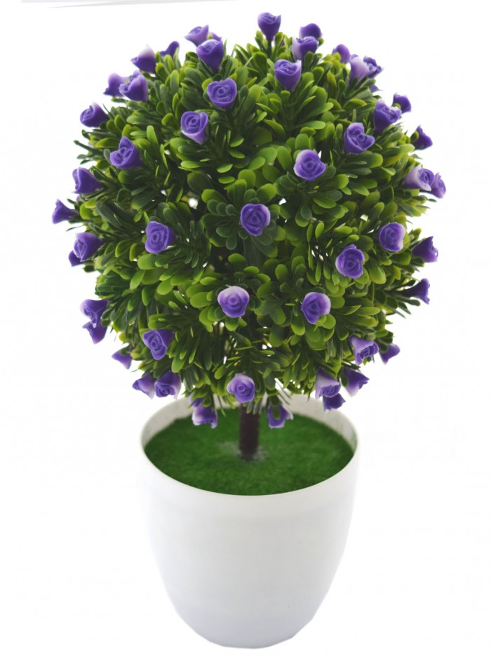 Buy Artificial Topiary PVC Bonsai Plant In A Melamine Pot For Home Office D�cor,(23 Cm Total Heigh