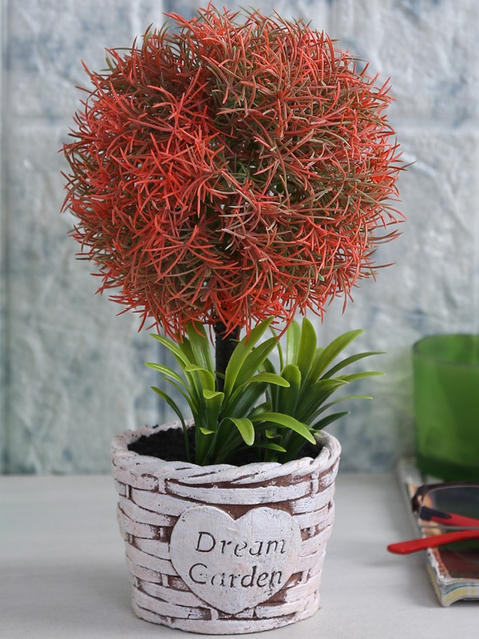 Buy Soft Touch Artificial Topiary Plant In A Ceramic Vase (15 Cm X 20 Cm X 24 Cm, Red) Online