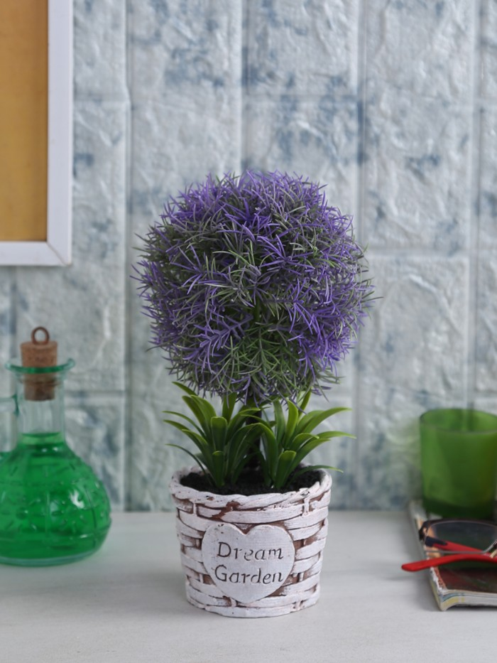 Buy Soft Touch Artificial Topiary Plant In A Ceramic Vase (15 Cm X 20 Cm X 24 Cm, Purple) Online