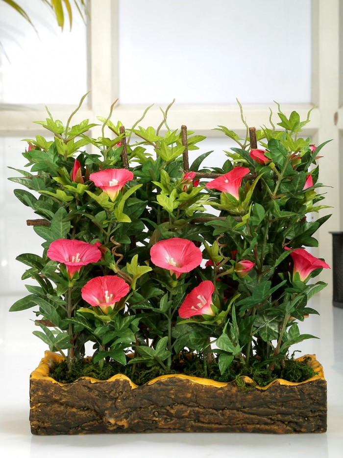 Buy Fourwalls Artificial Morning Glory Plant In A Light Weighted PU Pot (27 Cm, Rani) Online