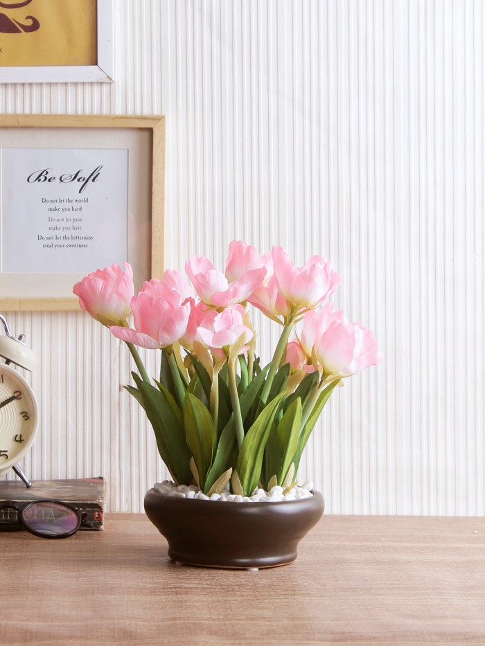 Buy Artificial Tulip Flower In A Ceramic Vase (10 Head Flower, 26 Cm Tall, Light Pink) Online