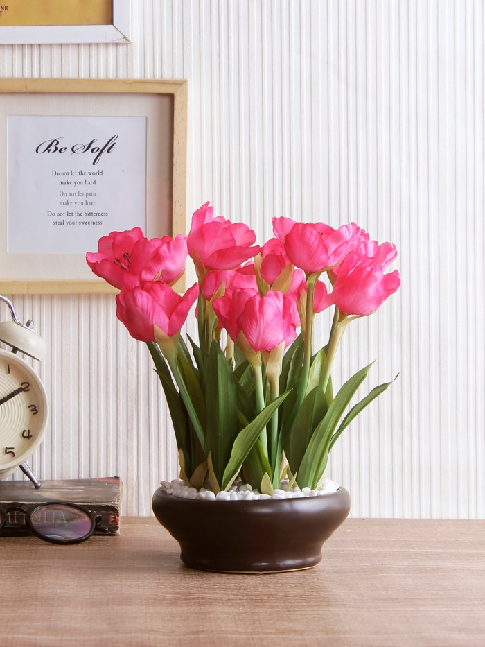 Buy Artificial Tulip Flower In A Ceramic Vase (10 Head Flower, 26 Cm Tall, Dark Pink) Online