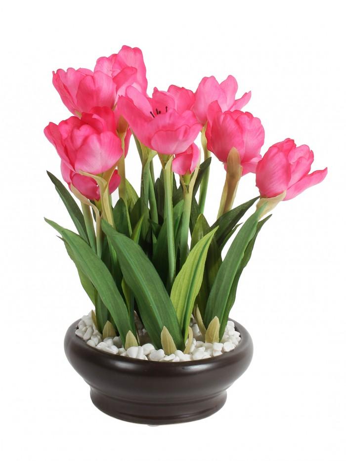 Buy Artificial Tulip Flower In A Ceramic Vase (10 Head Flower, 26 Cm Tall, Dark Pink) Online
