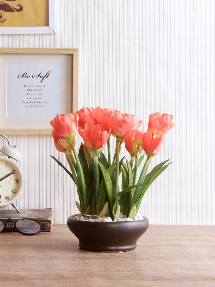 Buy Artificial Tulip Flower In A Ceramic Vase (10 Head Flower, 26 Cm Tall, Orange) Online