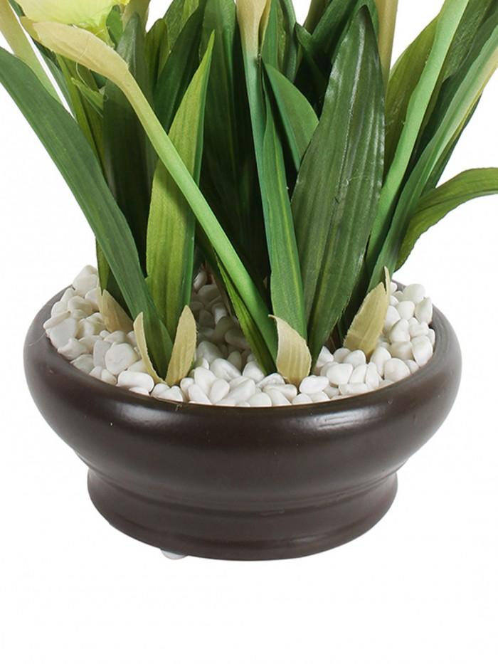 Buy Artificial Tulip Flower In A Ceramic Vase (10 Head Flower, 26 Cm Tall, Yellow) Online