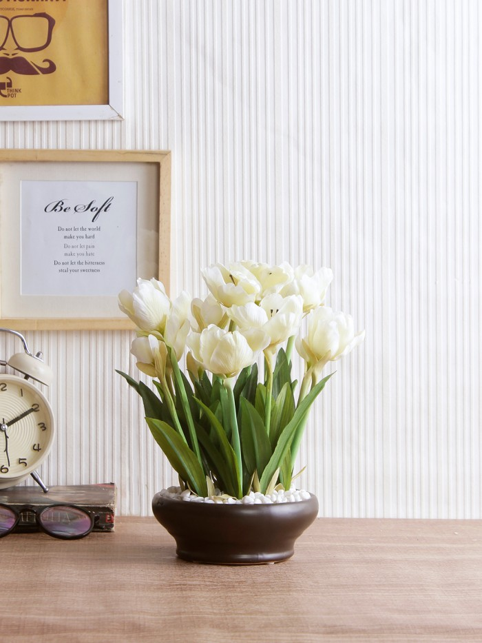 Buy Artificial Tulip Flower In A Ceramic Vase (10 Head Flower, 26 Cm Tall, Pink) Online