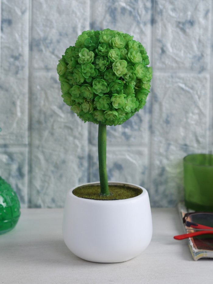 Buy PVC Artificial Bonsa Flower In A Plastic Pot For Gardens, Centertables, Office D�cor, Gifting