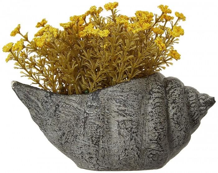 Buy Artificial Bonsai Lavender Mini Flower In A Shankh Vase (16 Cm Tall, Yellow) Online