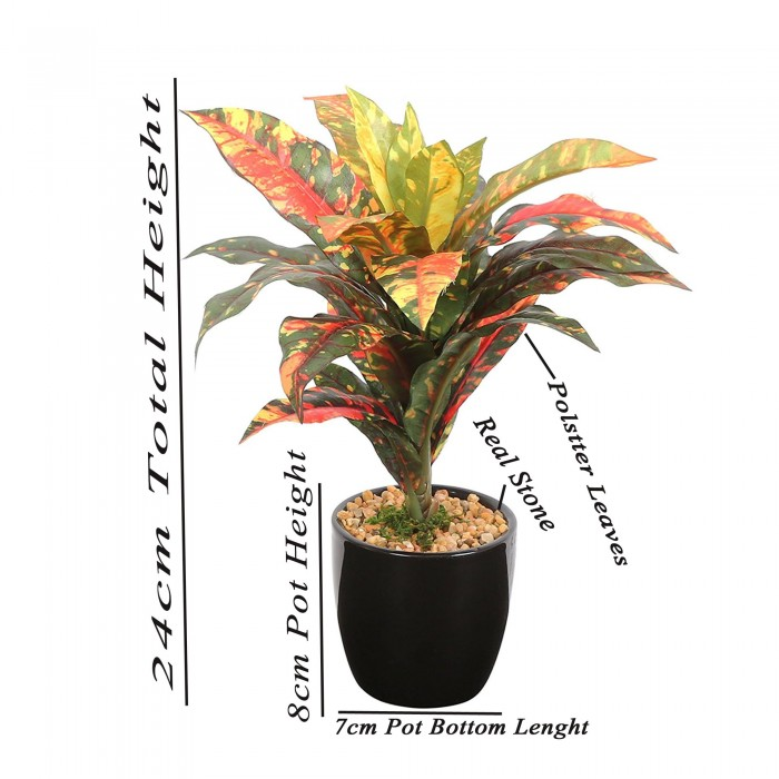 Buy Artificial Natural Looking Dracaena Bonsai Plant In A Ceramic Vase For Home Office Decor (25 Lea