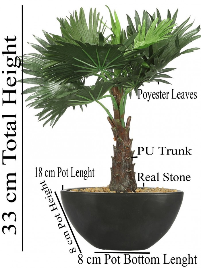 Buy Artificial Bismarckia Bonsai Plant In A Ceramic Vase For Home D�cor (13 Leaves, 33 Cm Tall, Gr