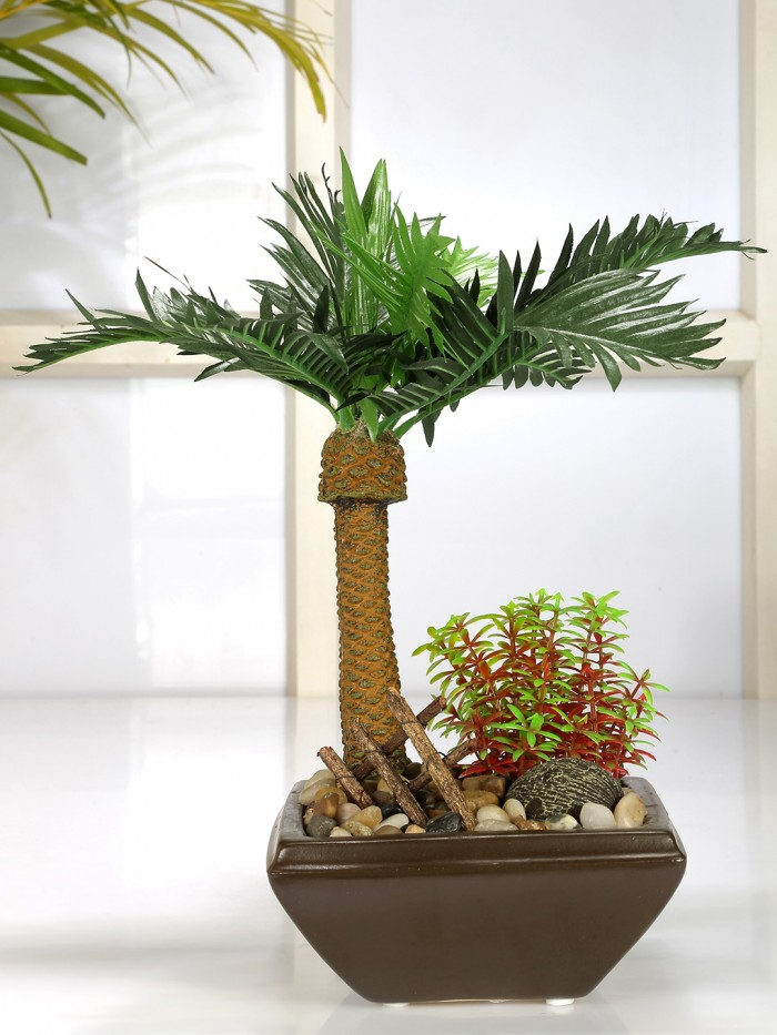 Buy Artificial Phoenix Bonsai Plant Square Shaped Ceramic Vase (34 Cm Tall, Green, 10 Leaves) Online