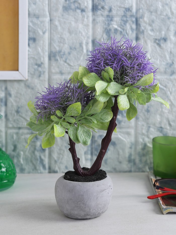 Buy Four Walls Soft Touch Artificial Plant In A Ceramic Pot (15 Cm X 20 Cm X 26 Cm, Blue) Online