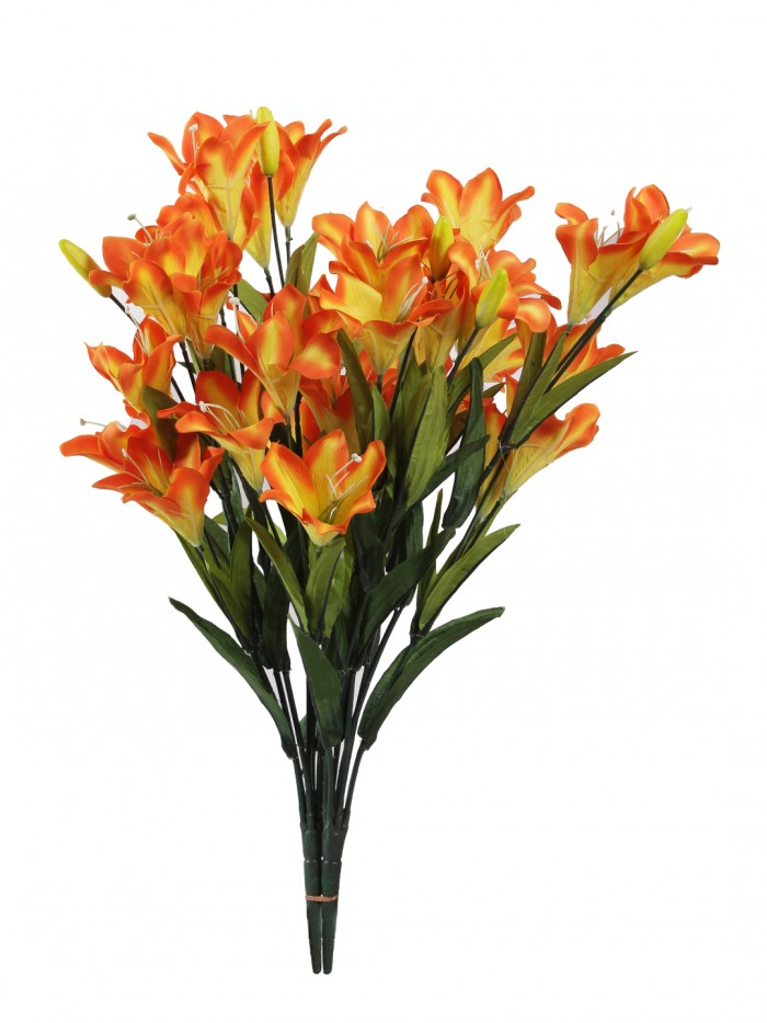 Buy Fourwalls Synthetic Lily Flower Bunch (21 Flowers, Set Of 2, Orange) Online