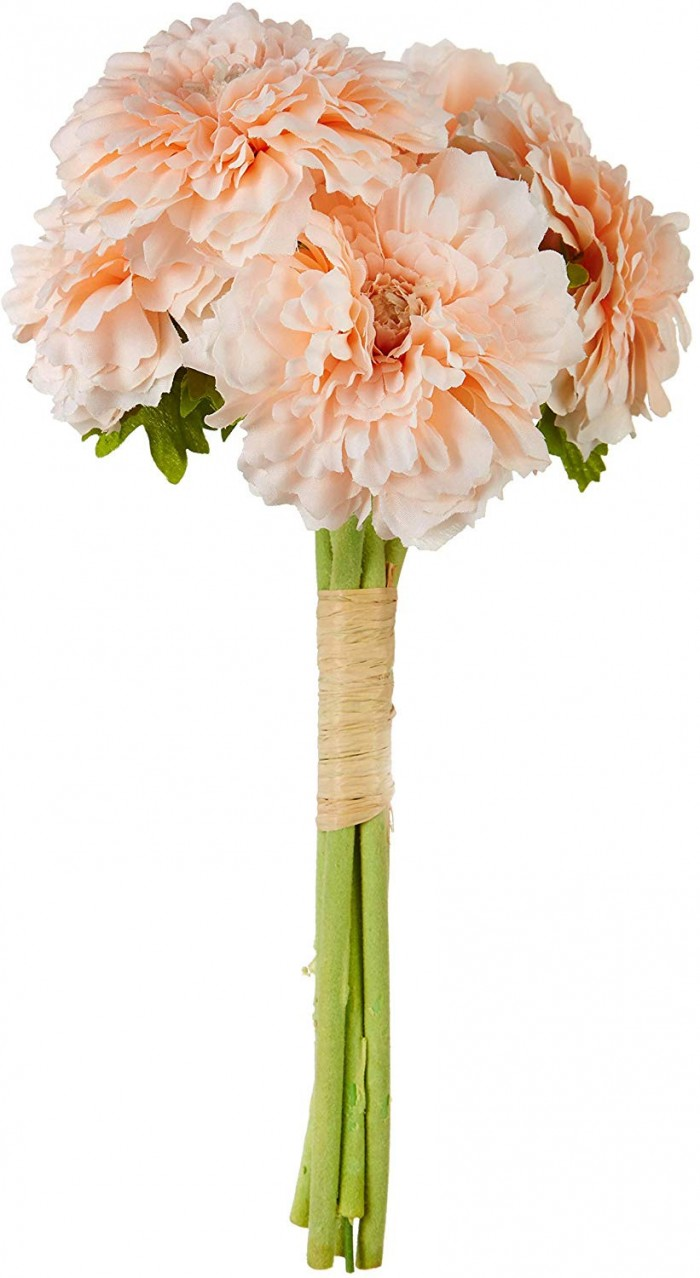 Buy Decorative Artificial Marigold Flower Bunches (6 Flowers, 30 Cm Tall, Peach) Online