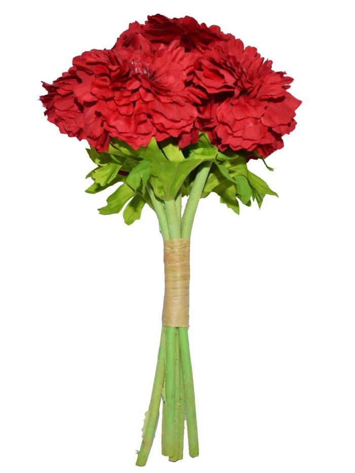 Buy Decorative Artificial Marigold Flower Bunches (6 Flowers, 30 Cm Tall, Red) Online