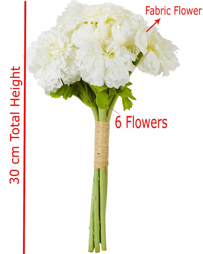 Buy Decorative Artificial Marigold Flower Bunches (6 Flowers, 30 Cm Tall, White) Online