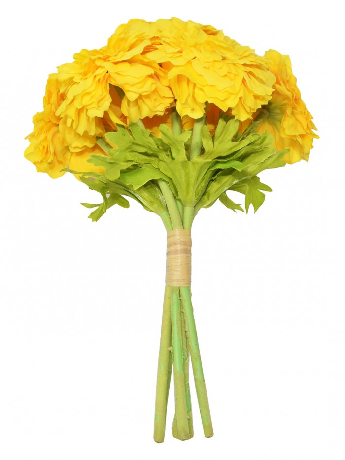 Buy Decorative Artificial Marigold Flower Bunches (6 Flowers, 30 Cm Tall, Yellow) Online