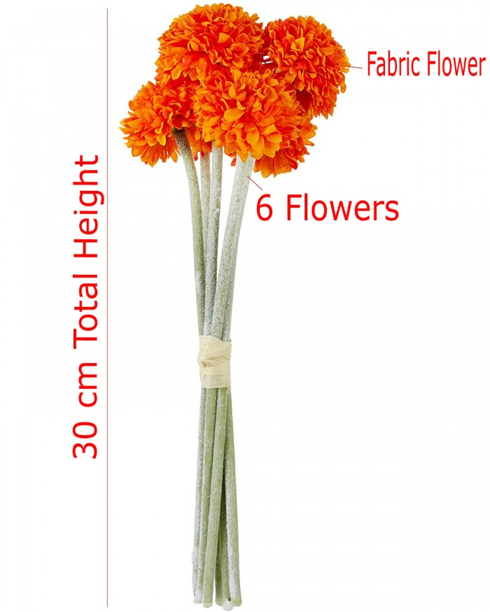 Buy Artificial Synthetic Chrysanthemum Flower Bunch (6 Flowers, 30 Cm Tall, Orange) Online